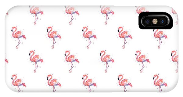 Bird Watercolor iPhone Case - Pink Flamingo Watercolor Pattern by Olga Shvartsur