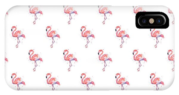 Illustration iPhone Case - Pink Flamingo Watercolor Pattern by Olga Shvartsur