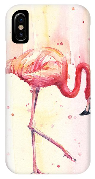 Pink Flamingo Watercolor Rain IPhone Case