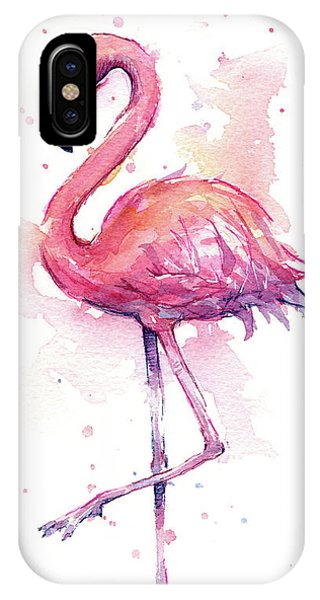 Bird Watercolor iPhone Case - Pink Flamingo Watercolor Tropical Bird by Olga Shvartsur