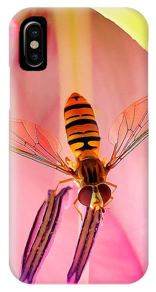 Pink Flower Fly IPhone Case