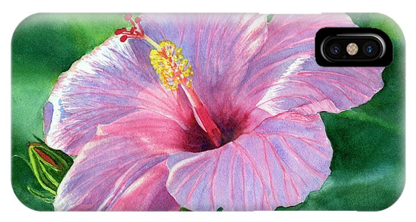 Hibiscus Flower iPhone Case - Pink Hibiscus Flower With Leafy Background by Sharon Freeman