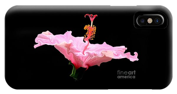 Pink Hibiscus With Curlicue Effect IPhone Case