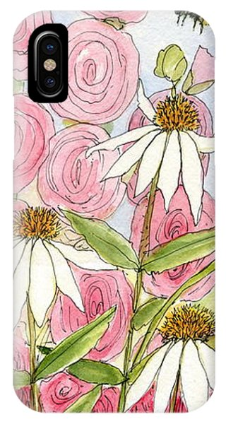 Pink Hollyhock And White Coneflowers IPhone Case