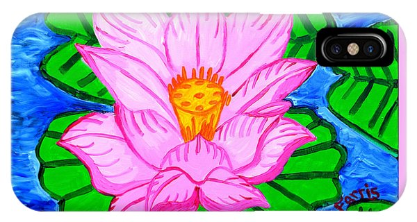 IPhone Case featuring the painting Pink Lotus Flower by Christopher Farris