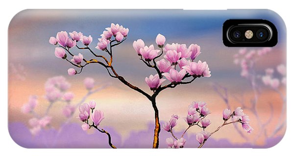 Shrub iPhone Case - Pink Magnolia - Bright Version by Peter Awax
