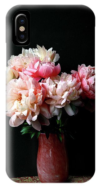 Pink Peonies In Pink Vase IPhone Case