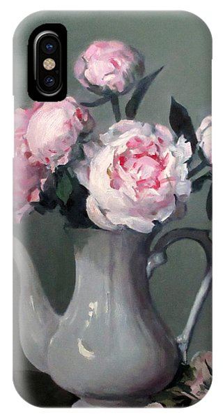 Pink Peonies In White Coffeepot IPhone Case