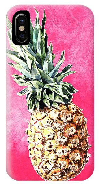 Pink Pineapple Bright Fruit Still Life Healthy Living Yoga Inspiration Tropical Island Kawaii Cute IPhone Case