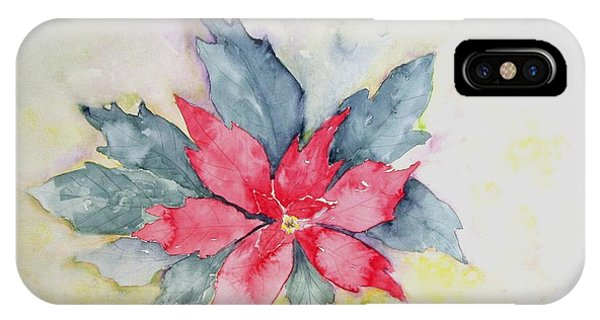 Pink Poinsetta On Blue Foliage IPhone Case