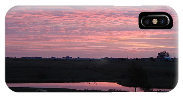 Pink Pond And Cow #5110 IPhone Case