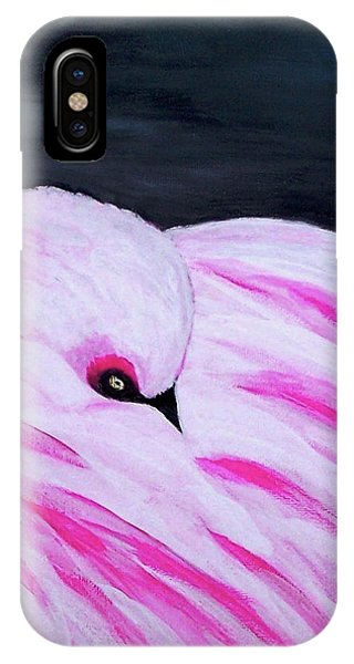 IPhone Case featuring the painting Pink Primping Flamingo by Sonya Nancy Capling-Bacle
