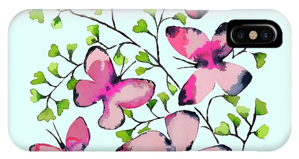Butterfly iPhone Case - Pink Profusion Butterflies by Roleen Senic