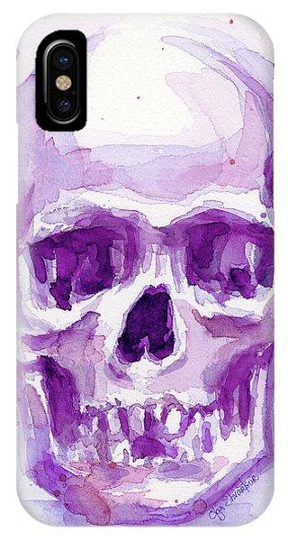 Skull iPhone Case - Pink Purple Skull by Olga Shvartsur