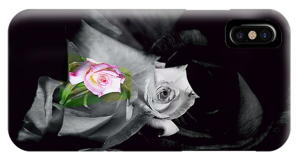 Pink Rose 2 Shades Of Grey IPhone Case