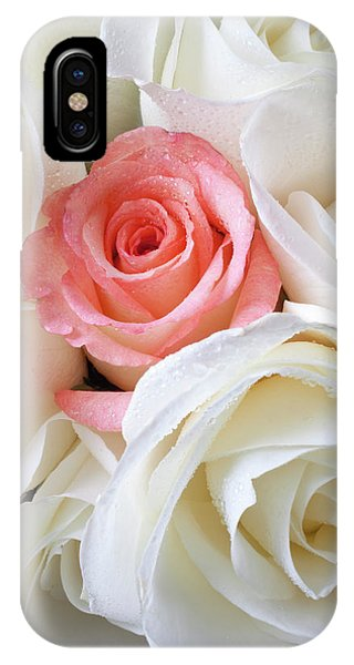 Pink Rose Among White Roses IPhone Case