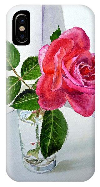 Rose iPhone X Case - Pink Rose by Irina Sztukowski