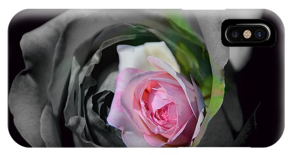 Pink Rose Shades Of Grey IPhone Case