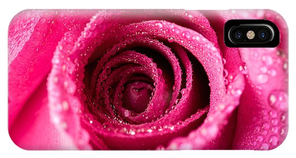 Pink Rose With Droplets IPhone Case