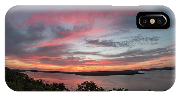 Pink Skies And Clouds At Sunset Over Lake Travis In Austin Texas IPhone Case