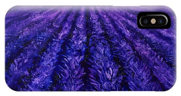 Abstract Lavender Field Landscape - Contemporary Landscape Painting - Amethyst Purple Color Block IPhone Case