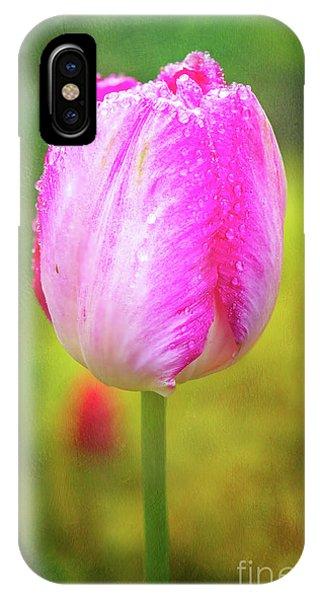 Pink Tulip In The Rain IPhone Case