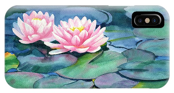 Waterlily iPhone Case - Pink Water Lilies With Colorful Pads by Sharon Freeman