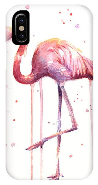 Pink Watercolor Flamingo IPhone Case