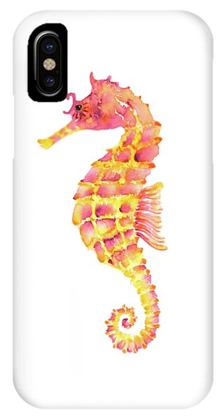 Seahorse iPhone Case - Pink Yellow Seahorse by Amy Kirkpatrick