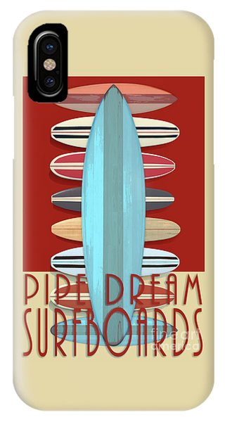 IPhone Case featuring the digital art Pipe Dream Surfboards 2 by Edward Fielding