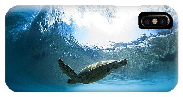 Turtle iPhone X Case - Pipe Turtle Glide by Sean Davey