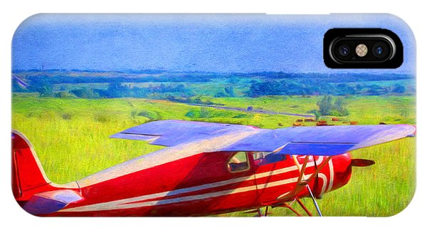 Piper Cub Airplane In Kansas Prairie IPhone Case
