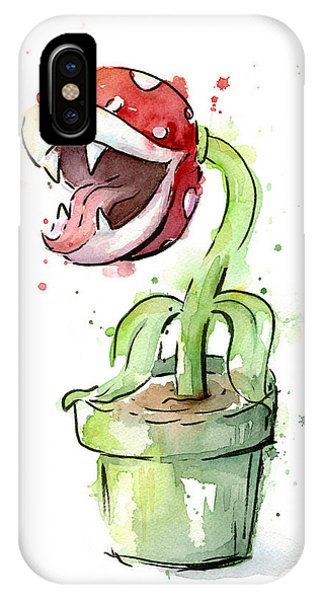 Plants iPhone Case - Piranha Plant Watercolor by Olga Shvartsur