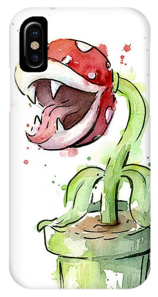 Piranha Plant Watercolor IPhone Case