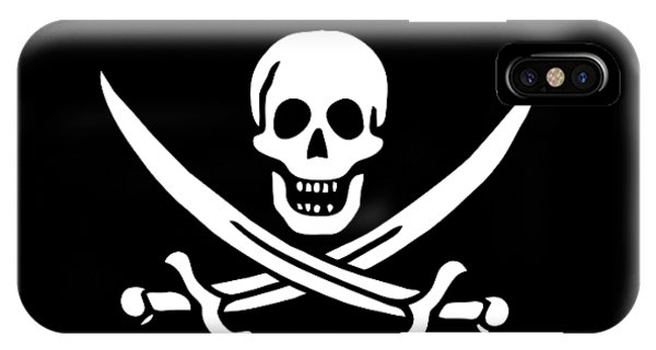 Skull iPhone Case - Pirate Flag Jolly Roger Of Calico Jack Rackham Tee by Edward Fielding