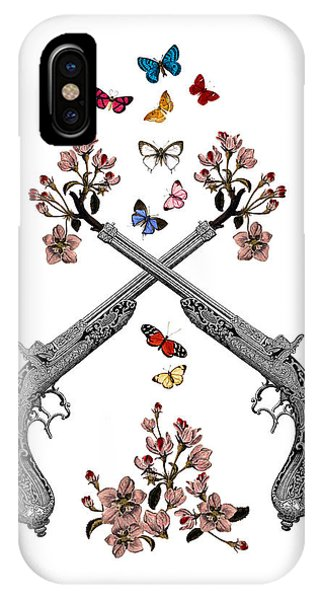 Weapons iPhone Case - Pistols Wit Flowers And Butterflies by Madame Memento