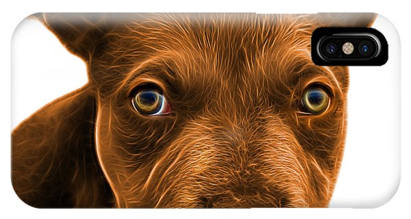 IPhone Case featuring the painting Pitbull Puppy Pop Art - 7085 Wb by James Ahn