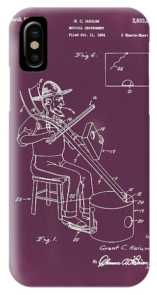 Fork iPhone Case - Pitch Fork Fiddle And Drum Patent 1936 - Red by Bill Cannon