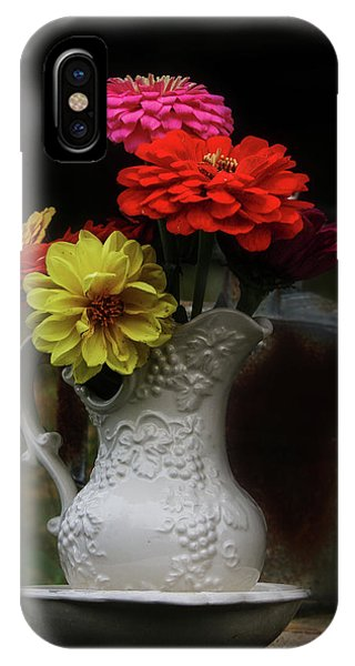 Pitcher And Zinnias IPhone Case
