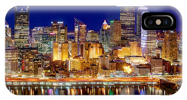 City iPhone Case - Pittsburgh Pennsylvania Skyline At Night Panorama by Jon Holiday