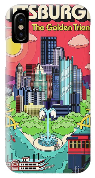 Triangles iPhone Case - Pittsburgh Poster - Pop Art - Travel by Jim Zahniser