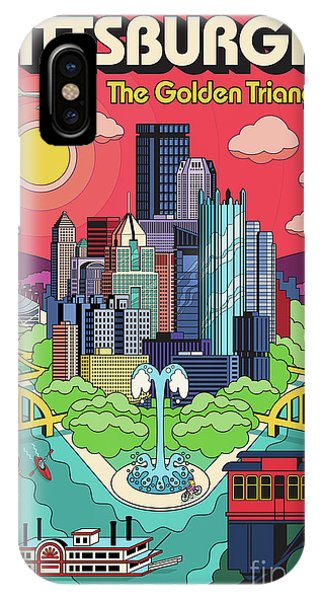 River iPhone Case - Pittsburgh Poster - Pop Art - Travel by Jim Zahniser