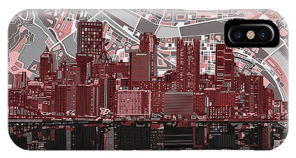 Pittsburgh Skyline Abstract 5 IPhone Case