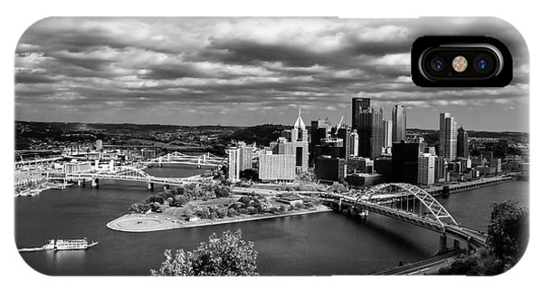Pittsburgh Skyline With Boat IPhone Case