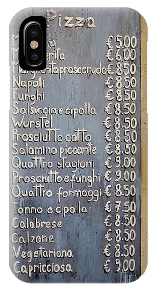 Menu iPhone Case - Pizza Menu Florence Italy by Edward Fielding