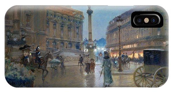 Cart iPhone Case - Place De L Opera In Paris by Georges Stein
