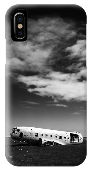 IPhone Case featuring the photograph Plane Wreck Black And White Iceland by Matthias Hauser