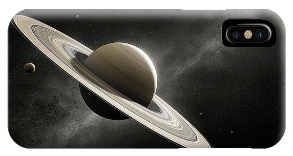 Dark Clouds iPhone Case - Planet Saturn With Major Moons by Johan Swanepoel