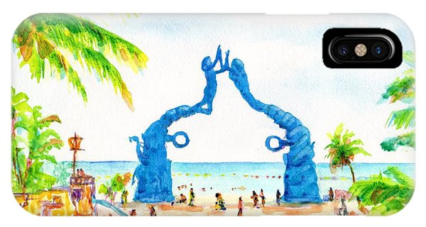 Playa Del Carmen Portal Maya Statue IPhone Case