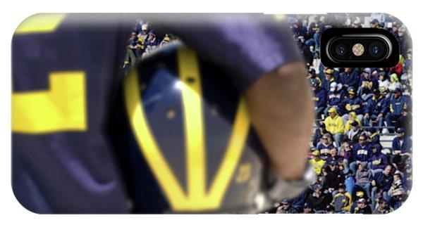 Player Cradling Helmet In Stadium IPhone Case